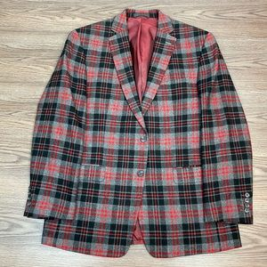Izod Grey, Red & Black Plaid Sport Coat 42R